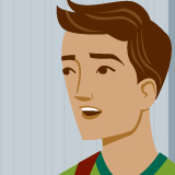 Illustration of Michael, a high school student's, face