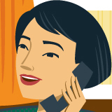 Illustration of Megan, a mom, on the phone